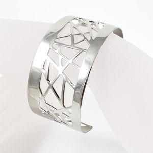 Lia Sophia Cuff Bracelet Modern Silver Tone